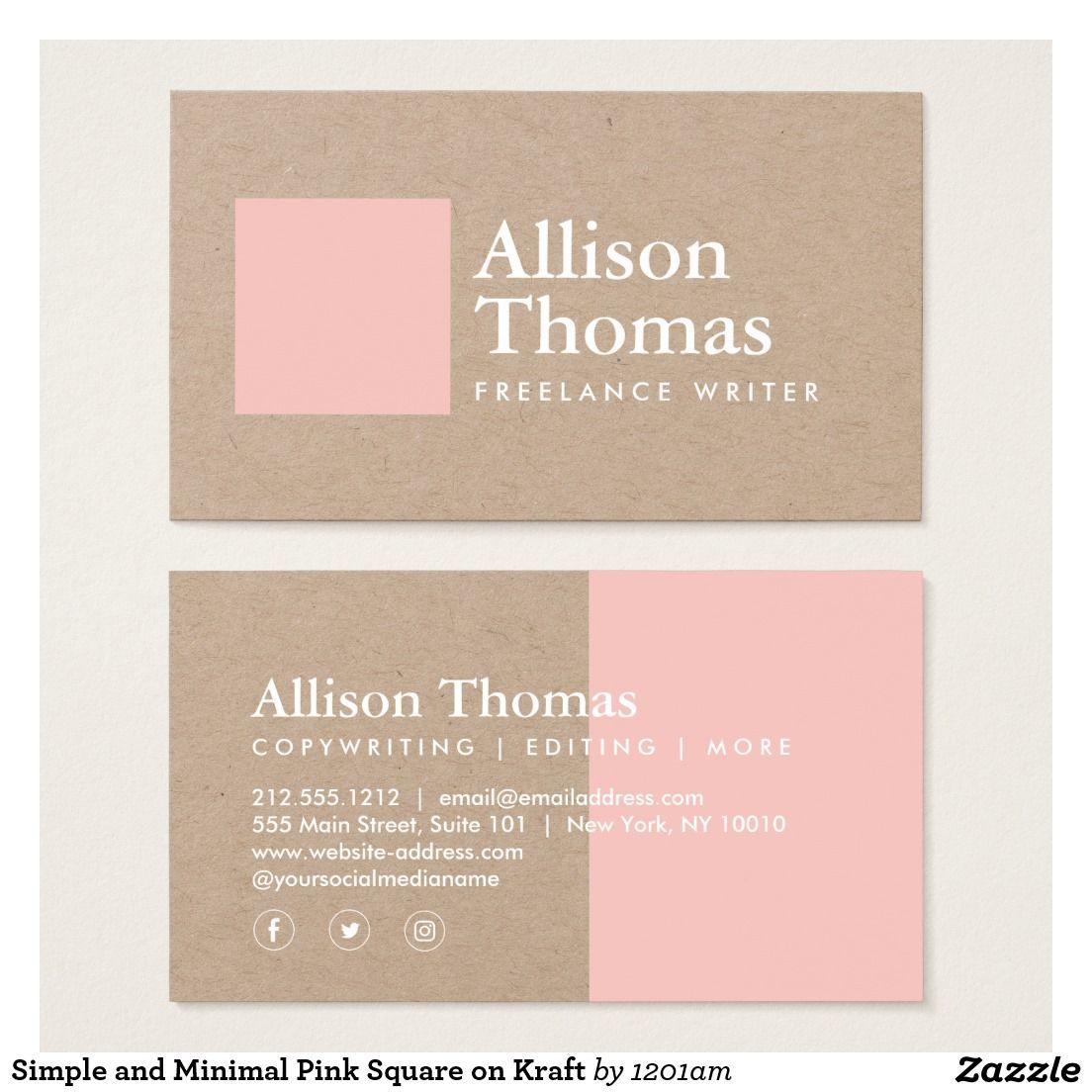 Minimalist pink square and white ink on kraft paper business card minimalist pink square and white ink on kraft paper business card fully customizable great reheart Image collections