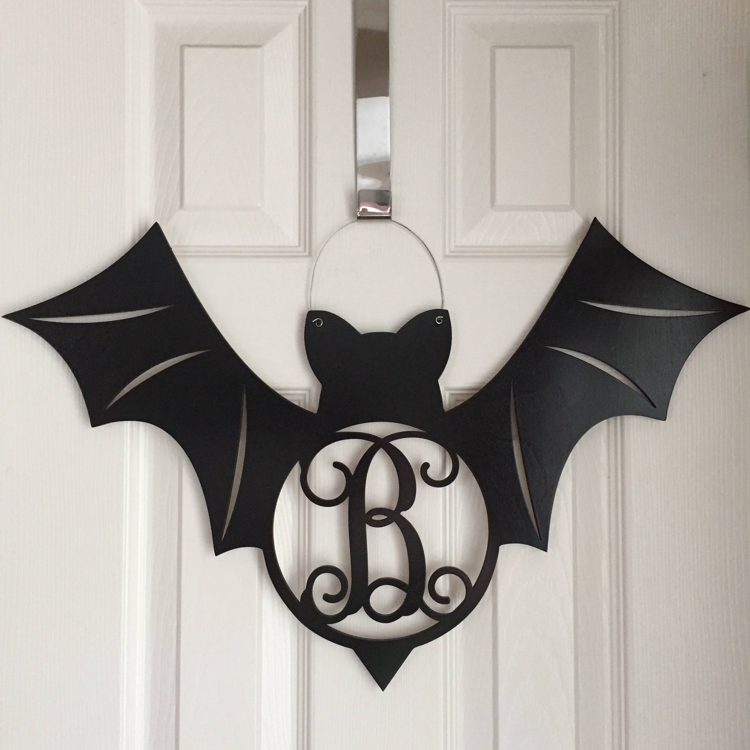 Monogram Bat Door Hanger Halloween Door Hanger Black Bat
