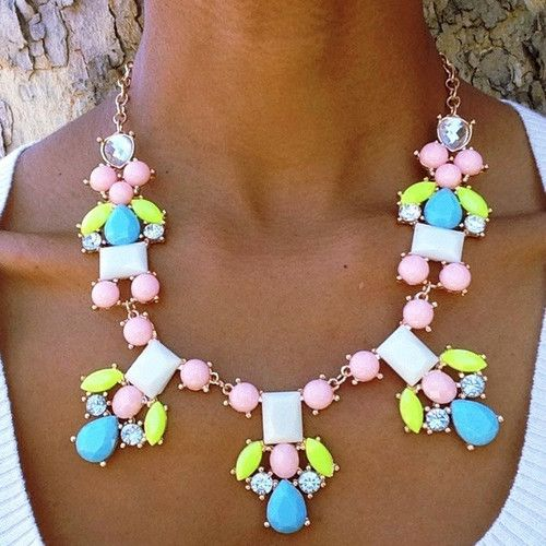 Vintage spring necklace Multicolor bead necklace Soviet jewelry