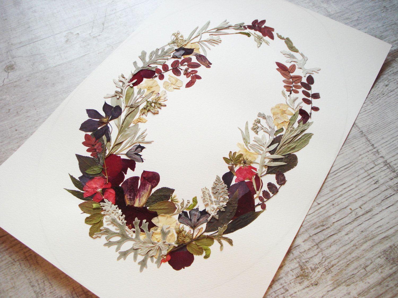 Wreath Print Botanical Pressed Flowers Floral Collage Botanical