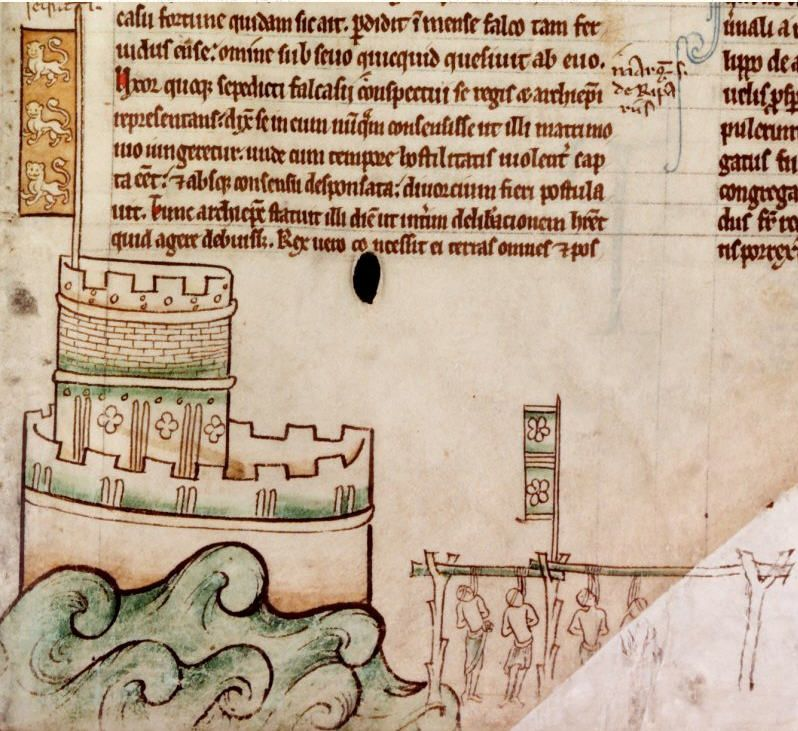 A near contemporary sketch by Matthew Paris of the keep and tower of Bedford Castle (l) during the 1224 siege, and the execution of the garrison after their surrender (r)