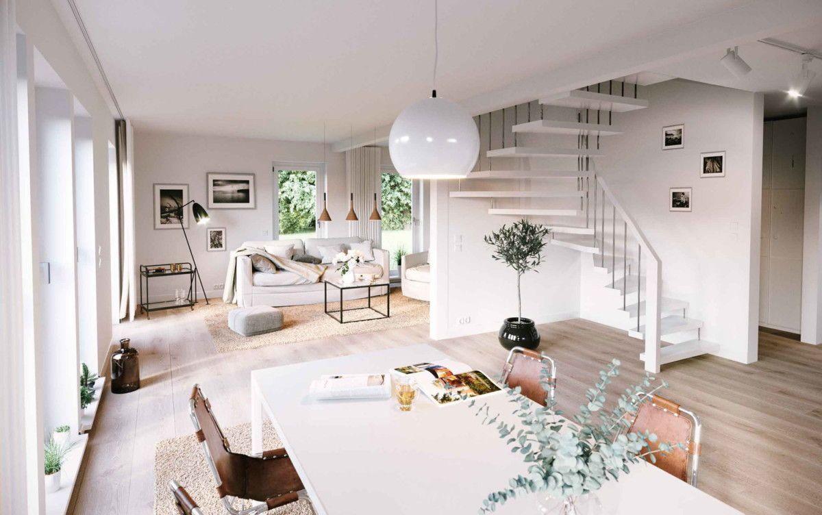 Wohnzimmer modern mit Essbereich & Treppe offen als Raumteiler ...