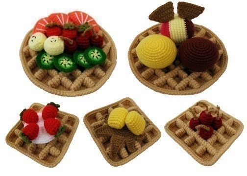 Crochet Pattern Waffles Toys Playfood Pdf 599 Via Etsy