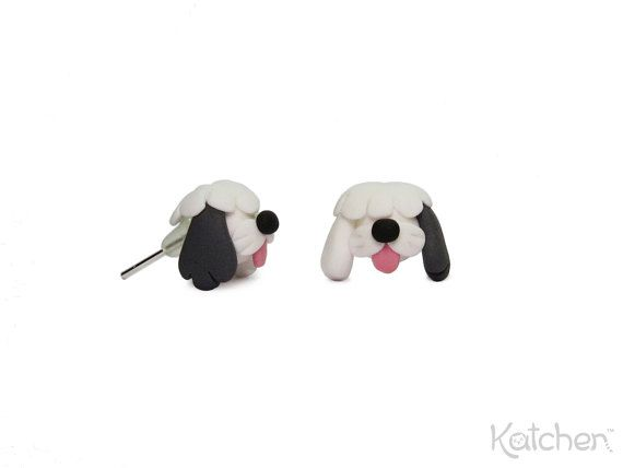 Old English Sheepdog/ Bobtail Earrings made from Fimo/ Polymer Clay - Cute Handmade Gift for Dog Owners - Miniature Animal Jewelry by Katchen Designs