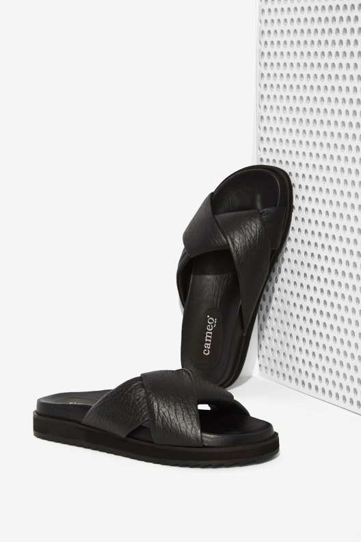 Cameo Back and Forth Leather Slide Sandals - Style Detox