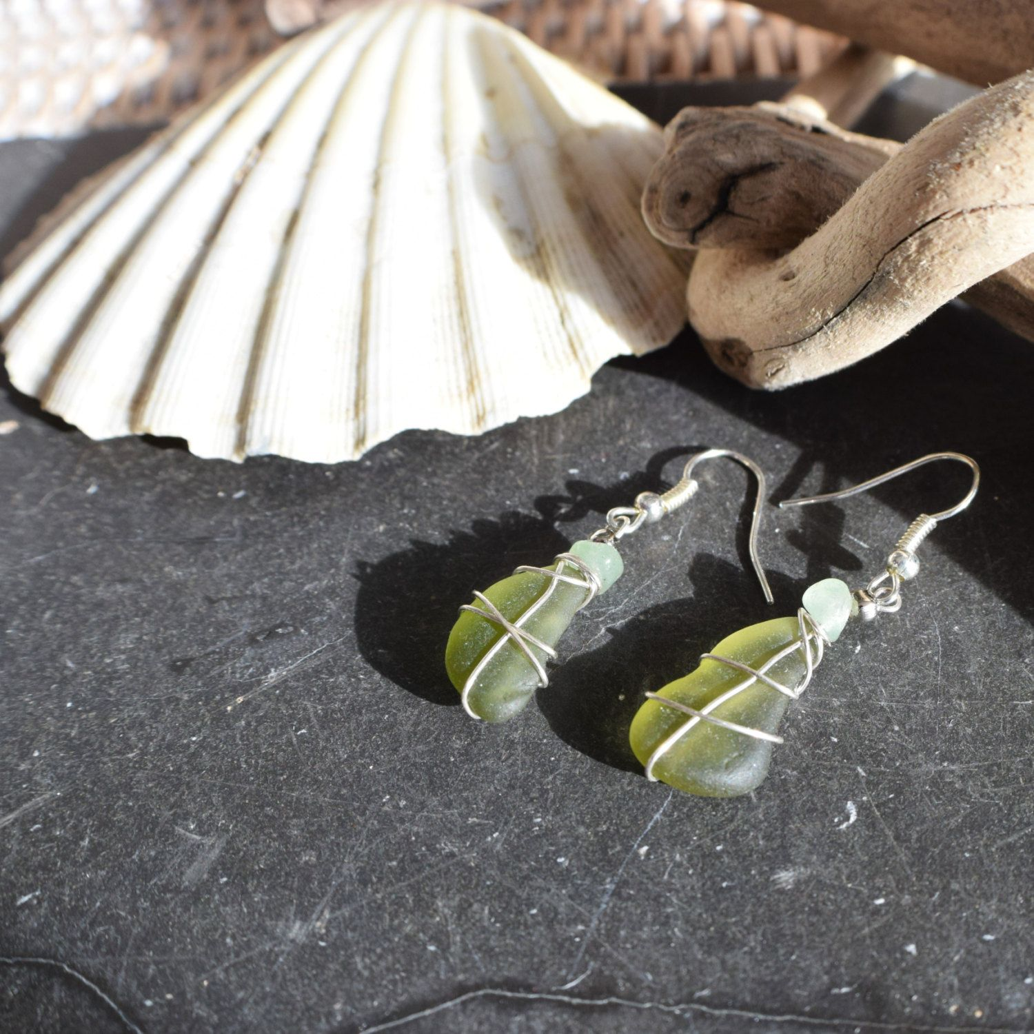 Irish Seaglass and aventurine simple drop earrings, FREE SHIPPING! Boho jewellery gifts for her, OOAK jewelry made in Ireland, ready to gift