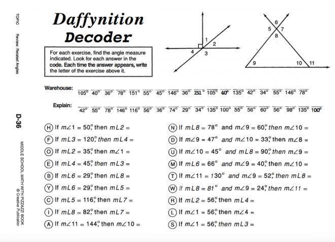 12 Daffynition Decoder Math Worksheet D-36 - - # ...