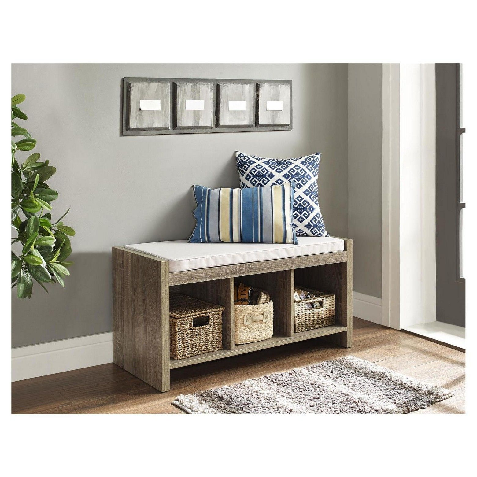 Awesome Hendland Entryway Storage Bench With Cushion Distressed Gray Gmtry Best Dining Table And Chair Ideas Images Gmtryco