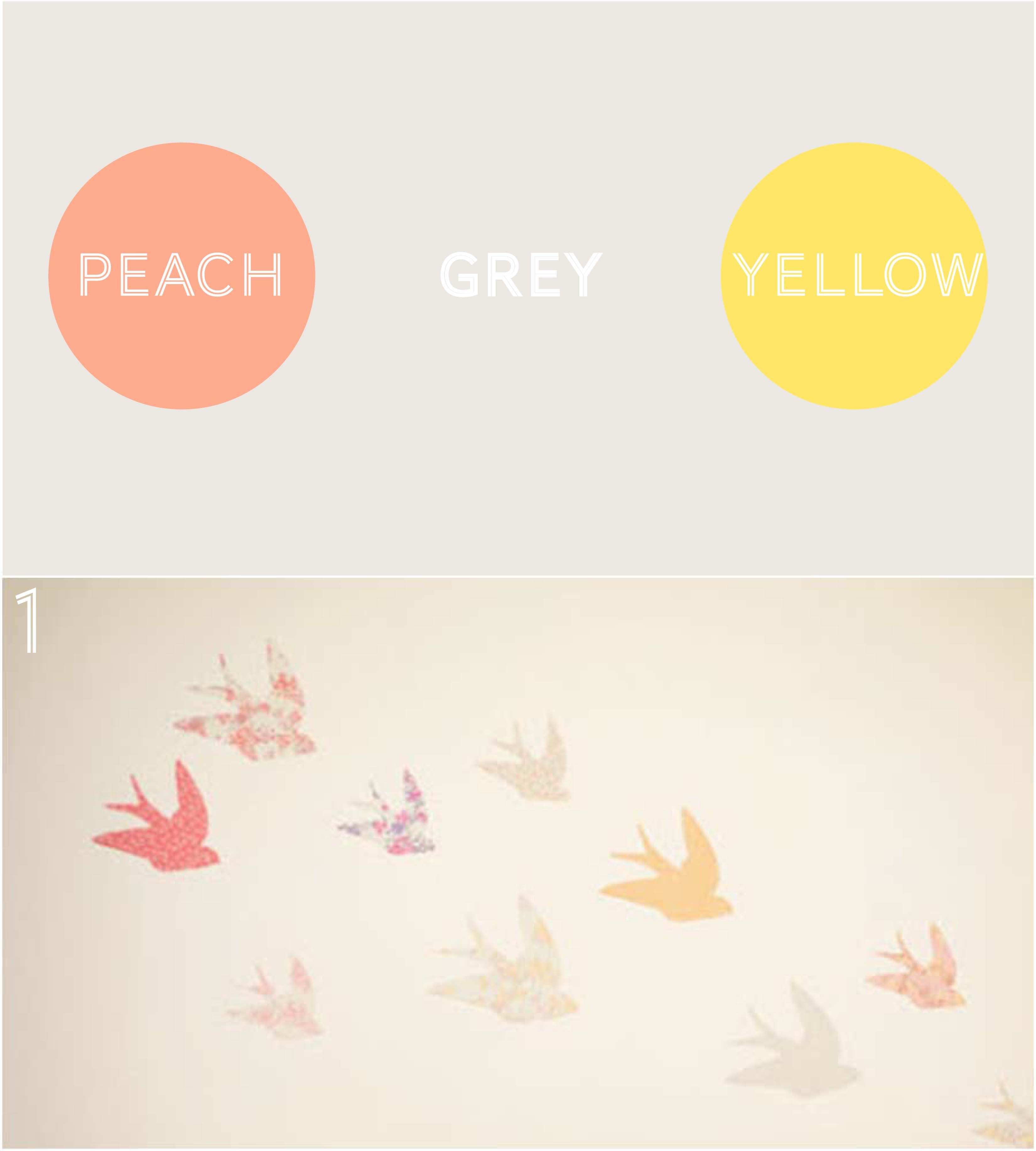 Peach, Grey & Yellow Nursery Or Toddler Room Palette