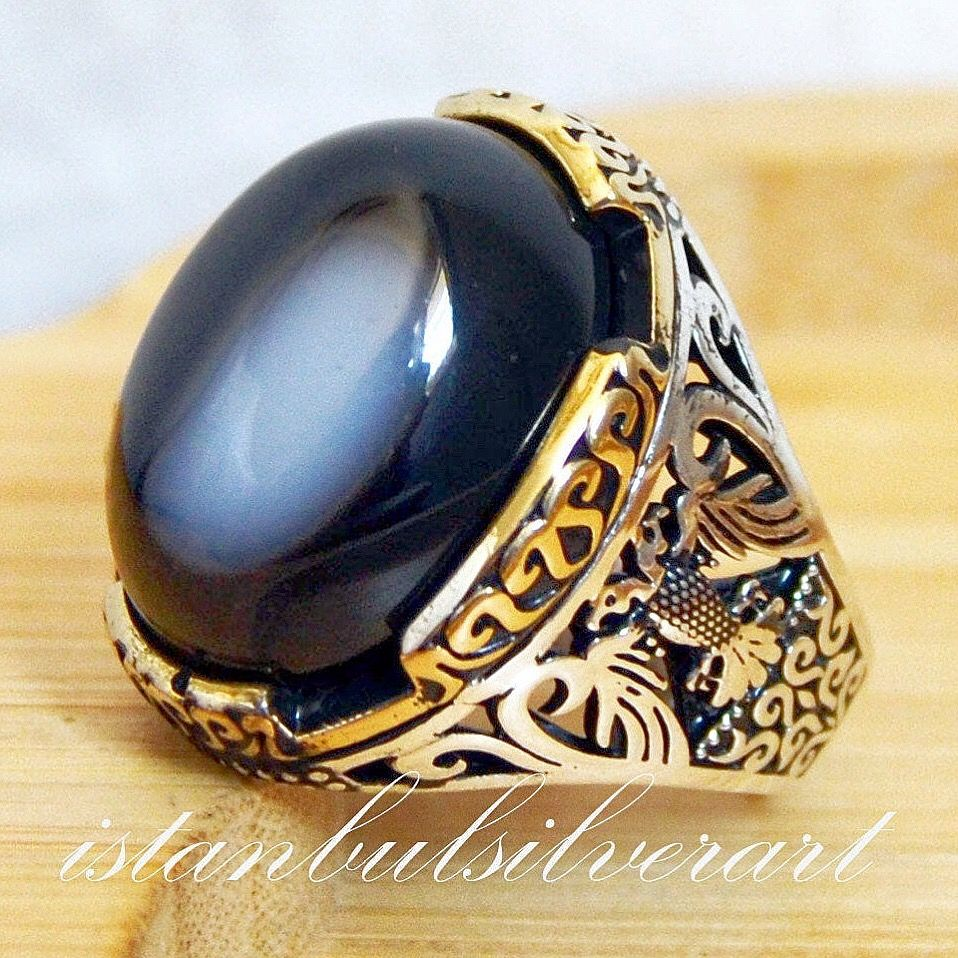 Emerald Stone Turkish Solid Handmade 925 Sterling Silver Men Ring ALL SİZE 002