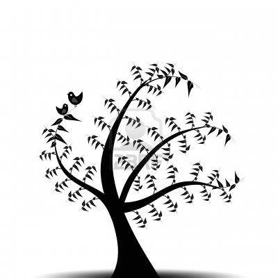 arbol en tinta negra
