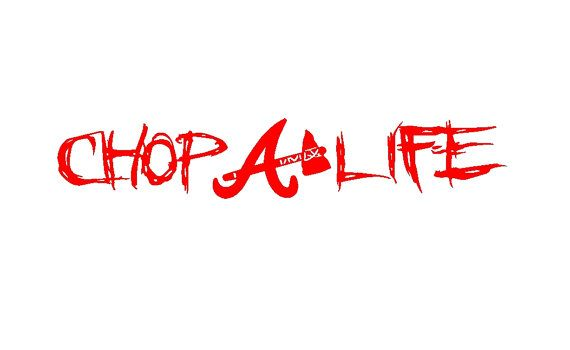 Atlanta braves chop life vinyl decal no background the white background shown in the picture
