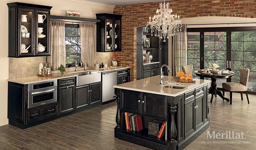 Merillat Classic Bayville In Maple Dusk Merillat Galley Kitchen Design Kitchen Remodel Merillat Cabinets