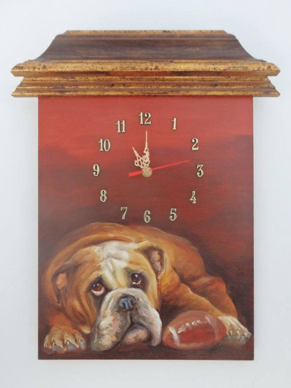 English Bulldog Painted Clock Hand Painted Dog Portrait