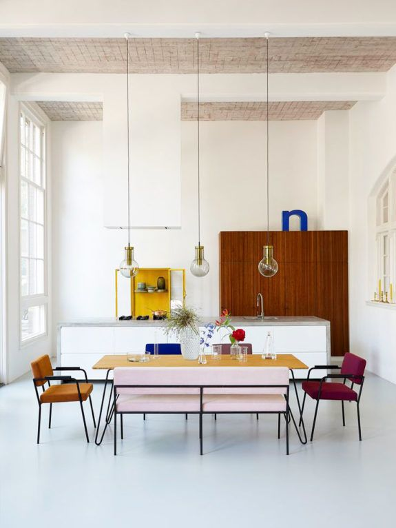 color palette: pink + yellow. #modernhousedesigninterior