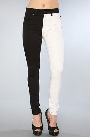 Half Black Half White Jeans Halloween Inspiration Pinterest
