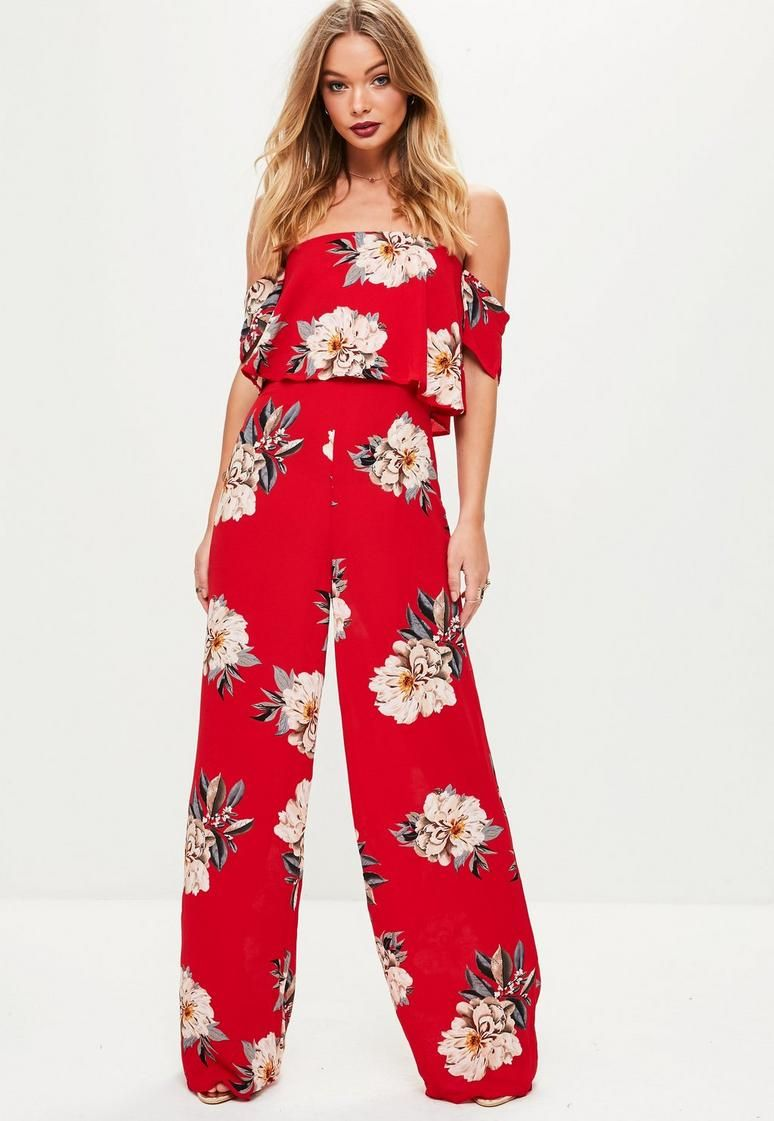bac8fa7452 Red Floral Crepe Overlay Bardot Jumpsuit