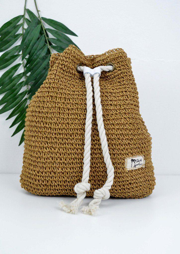 4fed1d45629 Τσάντα σακίδιο πλάτης ψάθινο πουγκί   Bamboo - Straw Bags