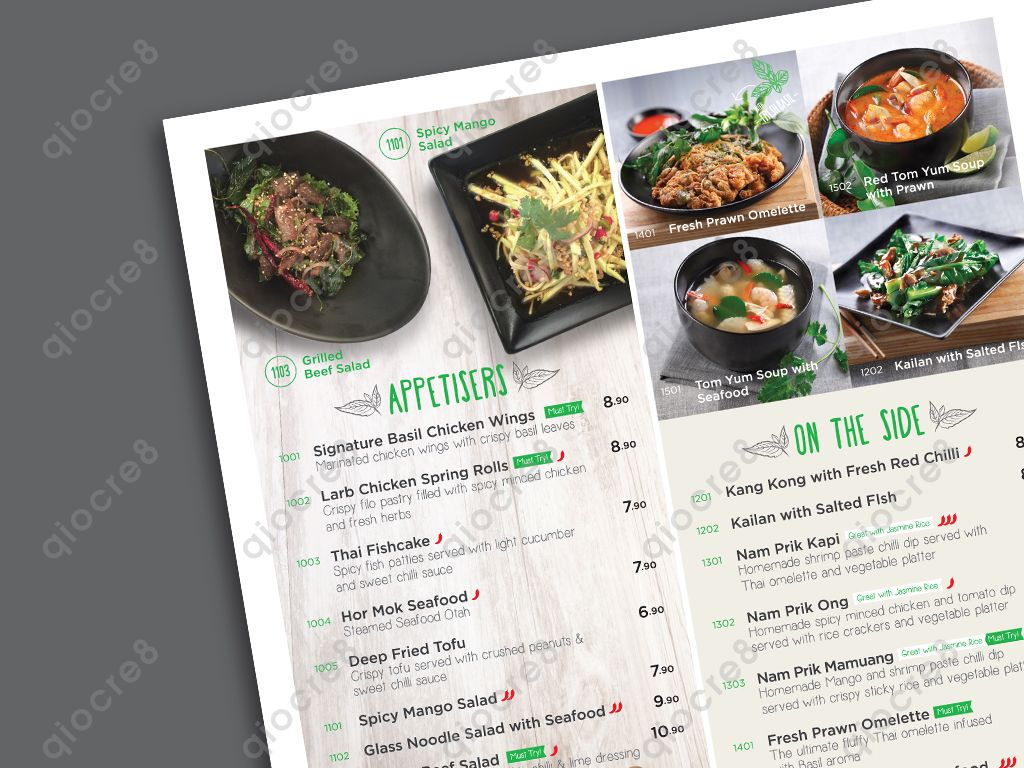 Basil Thai Kitchen Design And Layout Of Menu Chicken Spring Rolls Tom Yum Soup Spicy Salad