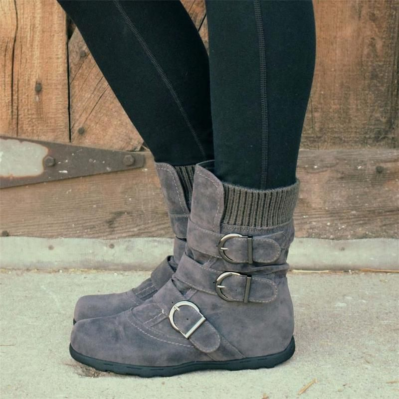 Cushioned Low-Calf Buckled Boots Low