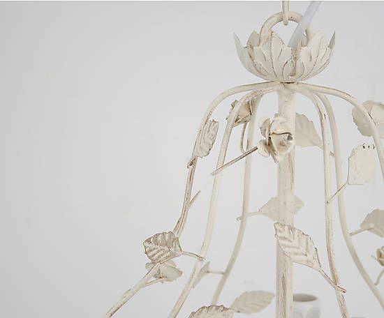Lámpara de techo tipo araña de metal con 6 luces – beige