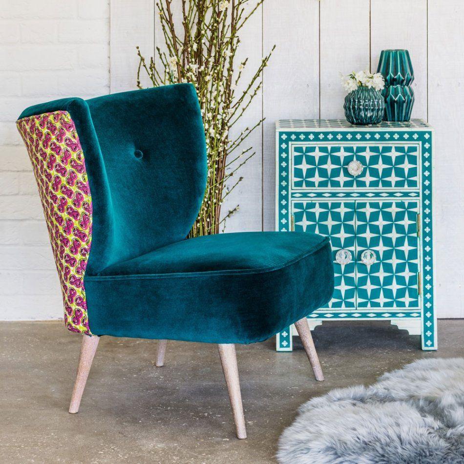 Alpana Teal Velvet Cocktail Chair | Big comfy chair ...