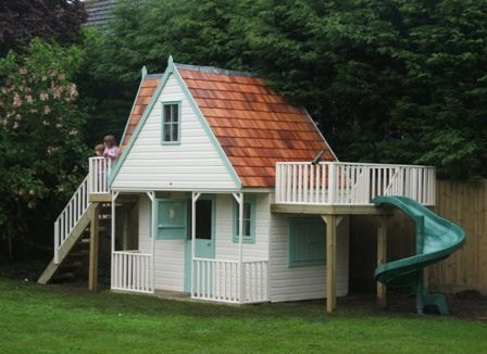 Chalet Playhouse With Spiral Slide - Project code PC080592