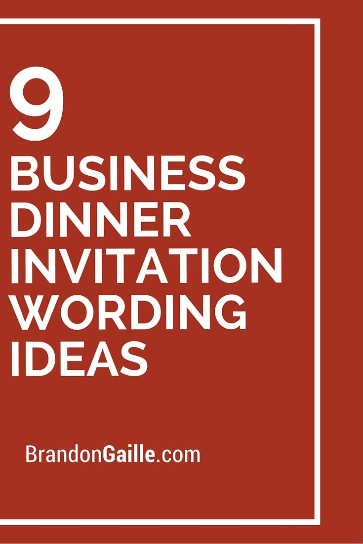 Business Dinner Invitation Wording Ideas  Business
