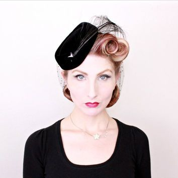 5f8c2926c 1950s Hat / VINTAGE / 50s Hat / Shooting Star / Feathers / Black ...