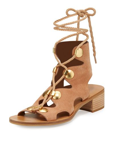 7032aacd8606 Edna Suede Lace-Up Sandal