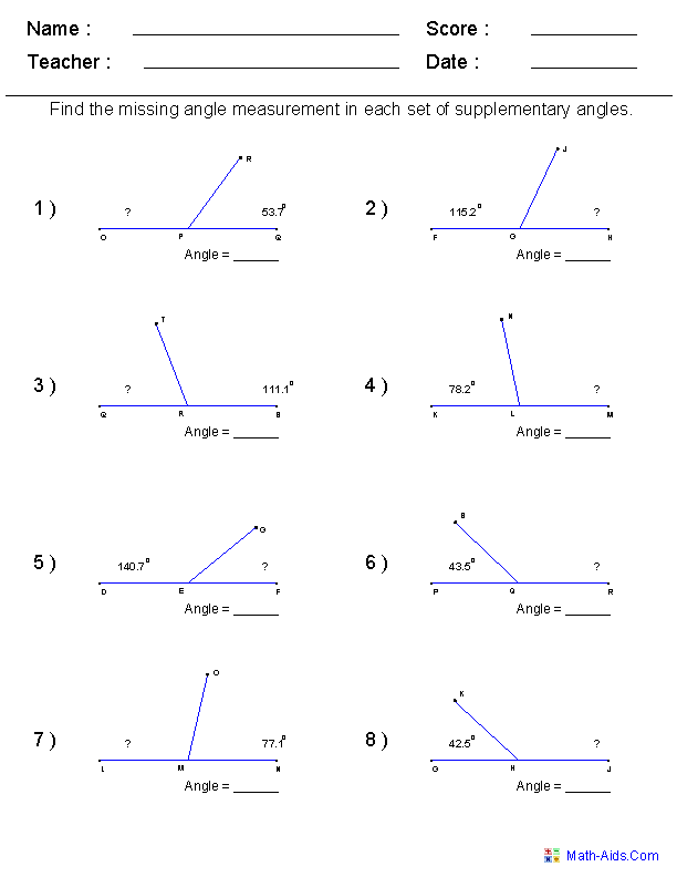 Math Worksheets For Every Grade Freei Have It On Angles For My