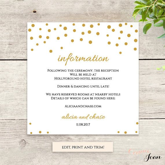 Wedding Information template, confetti printable information card