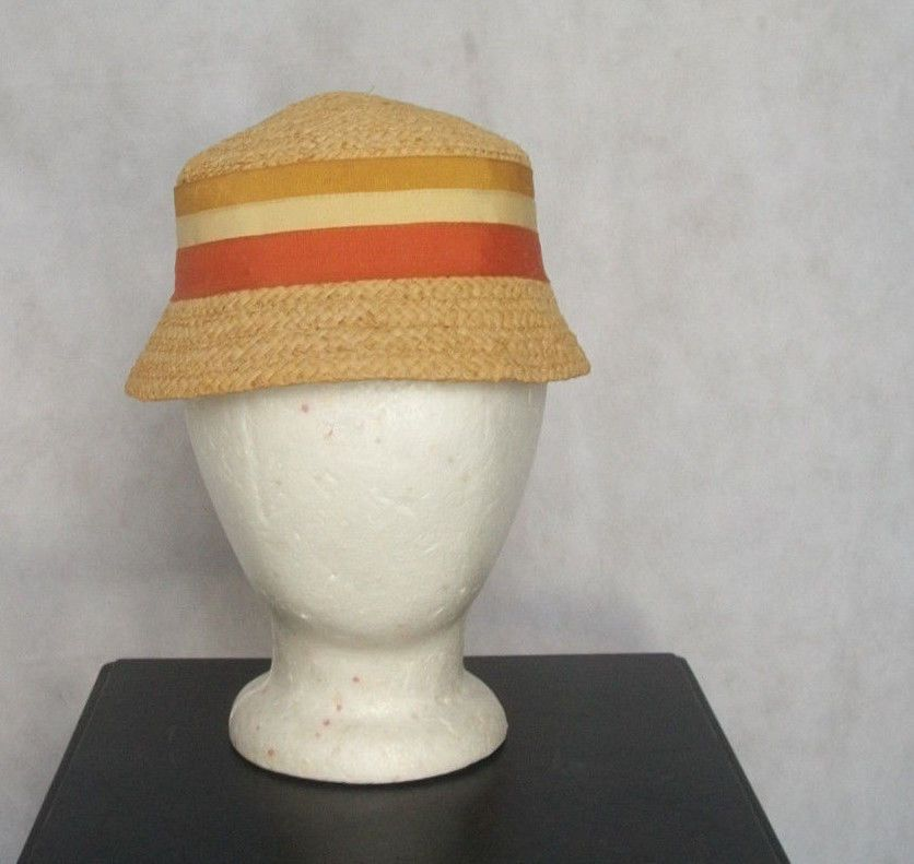 Vintage Women s Straw Hat Flapper Style Straw Cloche Hat w Multi Color  Ribbons M  Belmar  Cloche  Casual 581c42c0342