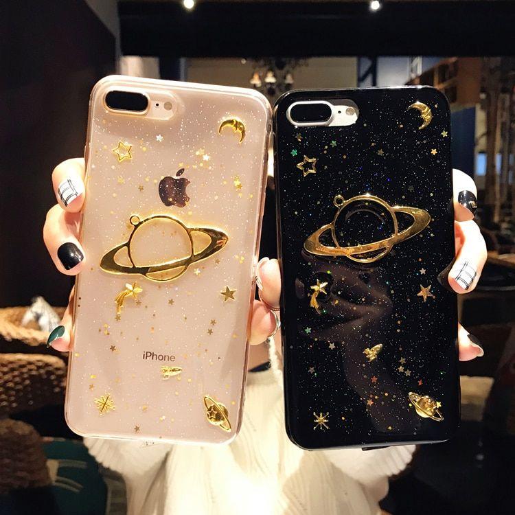 Glitter Saturn Transparent Soft Tpu Case For Iphone Iphone 7 Phone Cases Pretty Iphone Cases Pretty Phone Cases