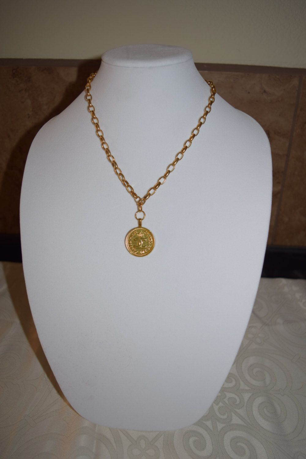 Gold necklace with Chanel Rue Cambon pendant by Vswaggercouture on Etsy