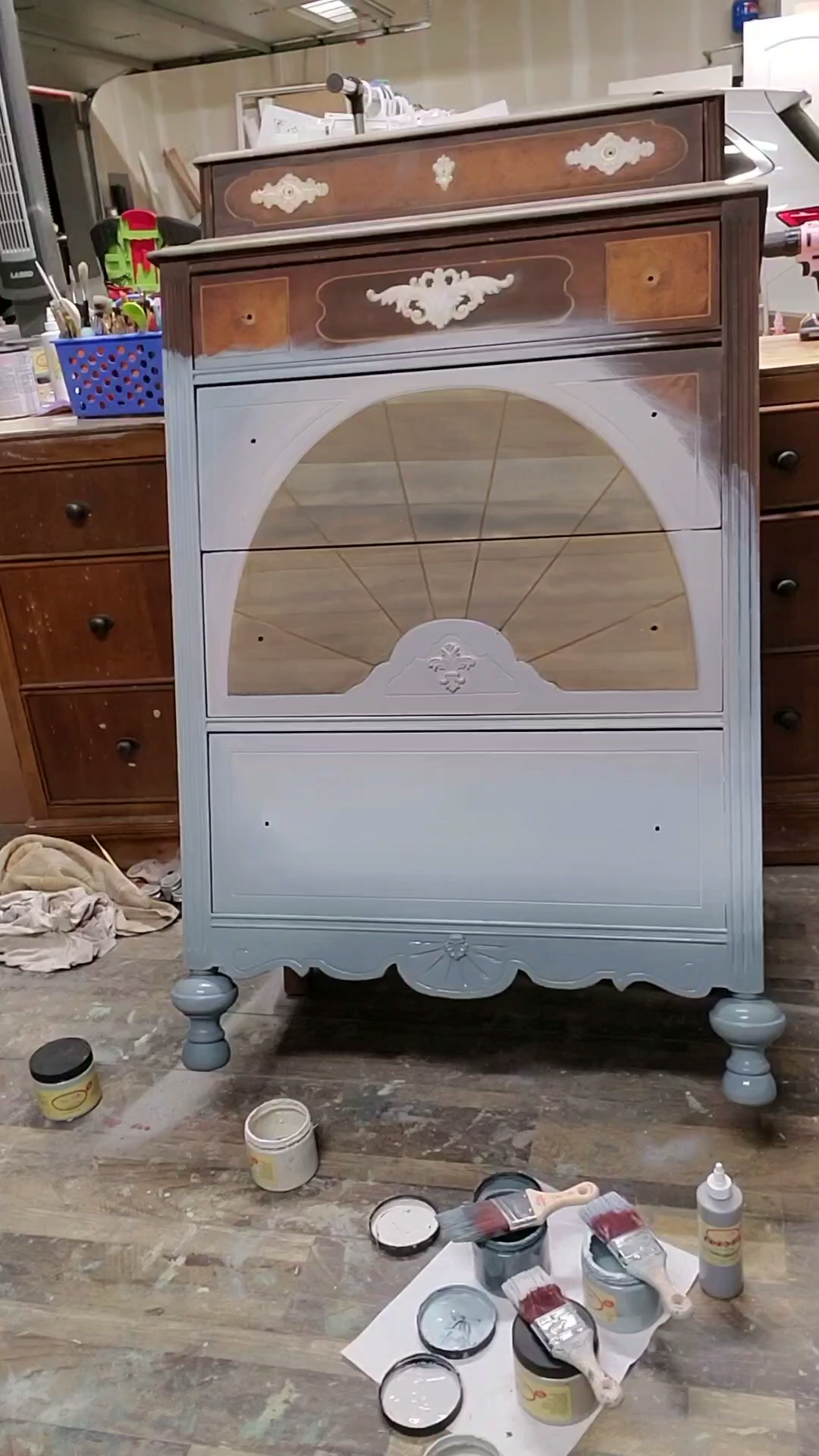 Learn How to Chalk Paint Furniture with Brushed by Brandy Stormy Seas Chalk Paint Blended Highboy