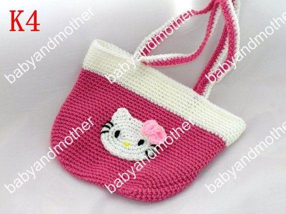 Wholesale Hello Kitty Handbag Baby Girl Crochet Wallets Holders