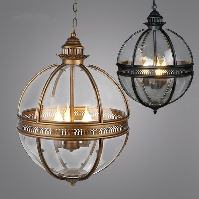 Vintage Loft Globe Pendant Light Wrought Iron Glass Shade Pendant - Kitchen lamps for ceiling