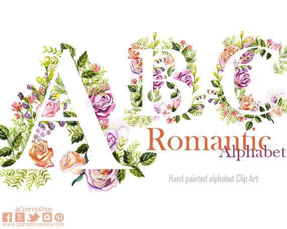 Floral Alphabet Clipart Letters Clipart Watercolor Flowers