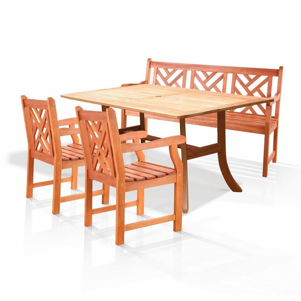Vifah Atlantic Eucalyptus 4 Piece Wood Patio Dining Set With