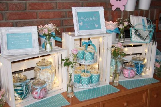 Photo of Anchor launcher, decoration, candy bar,, turquoise, tiffany blue, light blue, pink