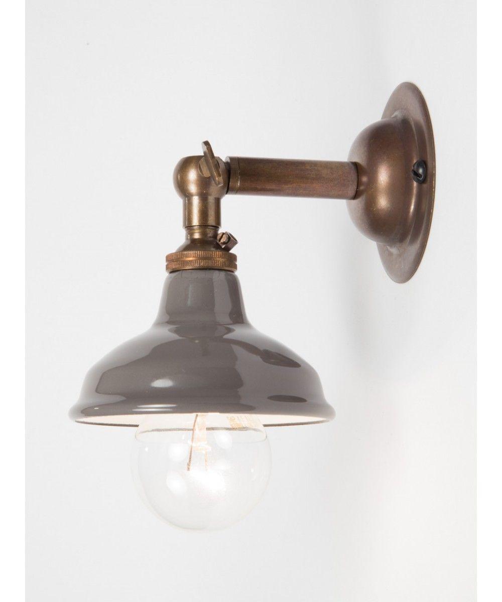 Brass Maria Sconce Grey Enamel Shade Vintage Wall Lights Interior Wall Lights Vintage Lighting