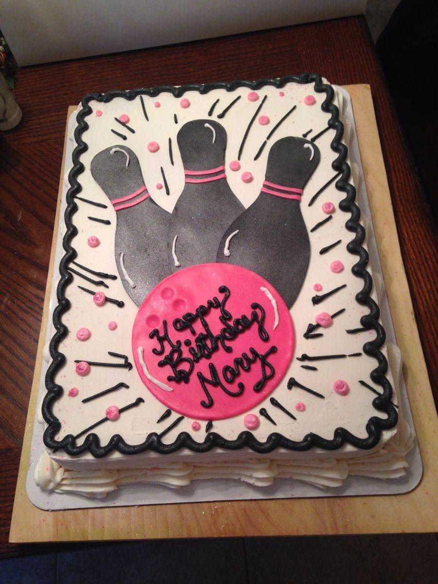 Pink Bowling sheet cake