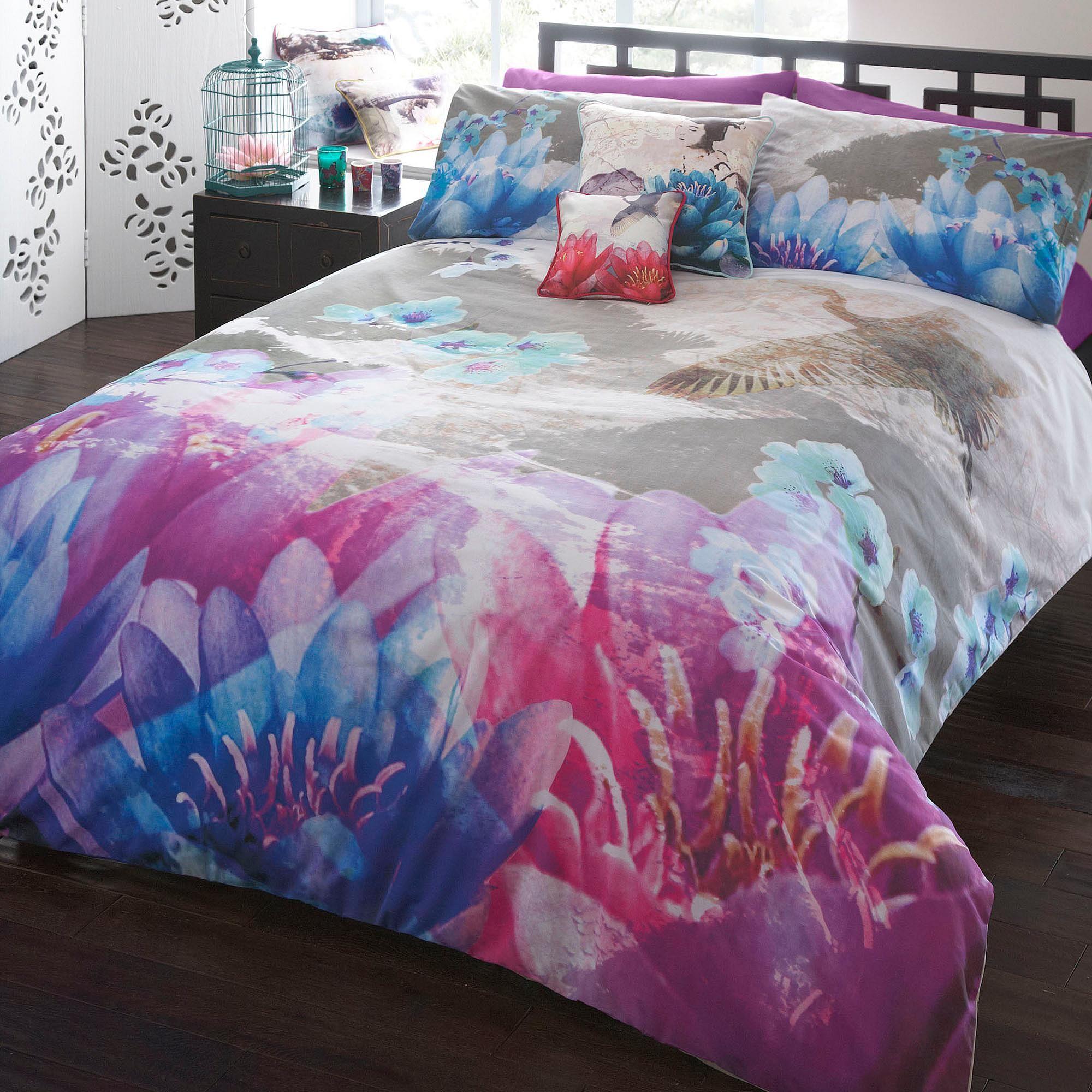Designer purple lotus bedding set - Home & furniture ...