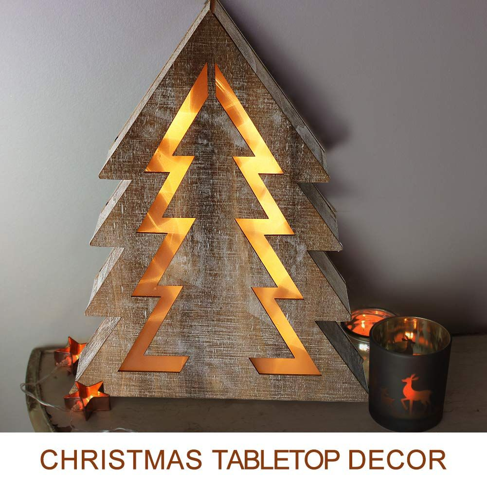 Bright Zeal Christmas Tree Light Sign Decorations 14 Tall 8hr Timer Led Wooden Xmas Led Christmas Tree Lights Christmas Tabletop Decor Christmas Tree Lighting