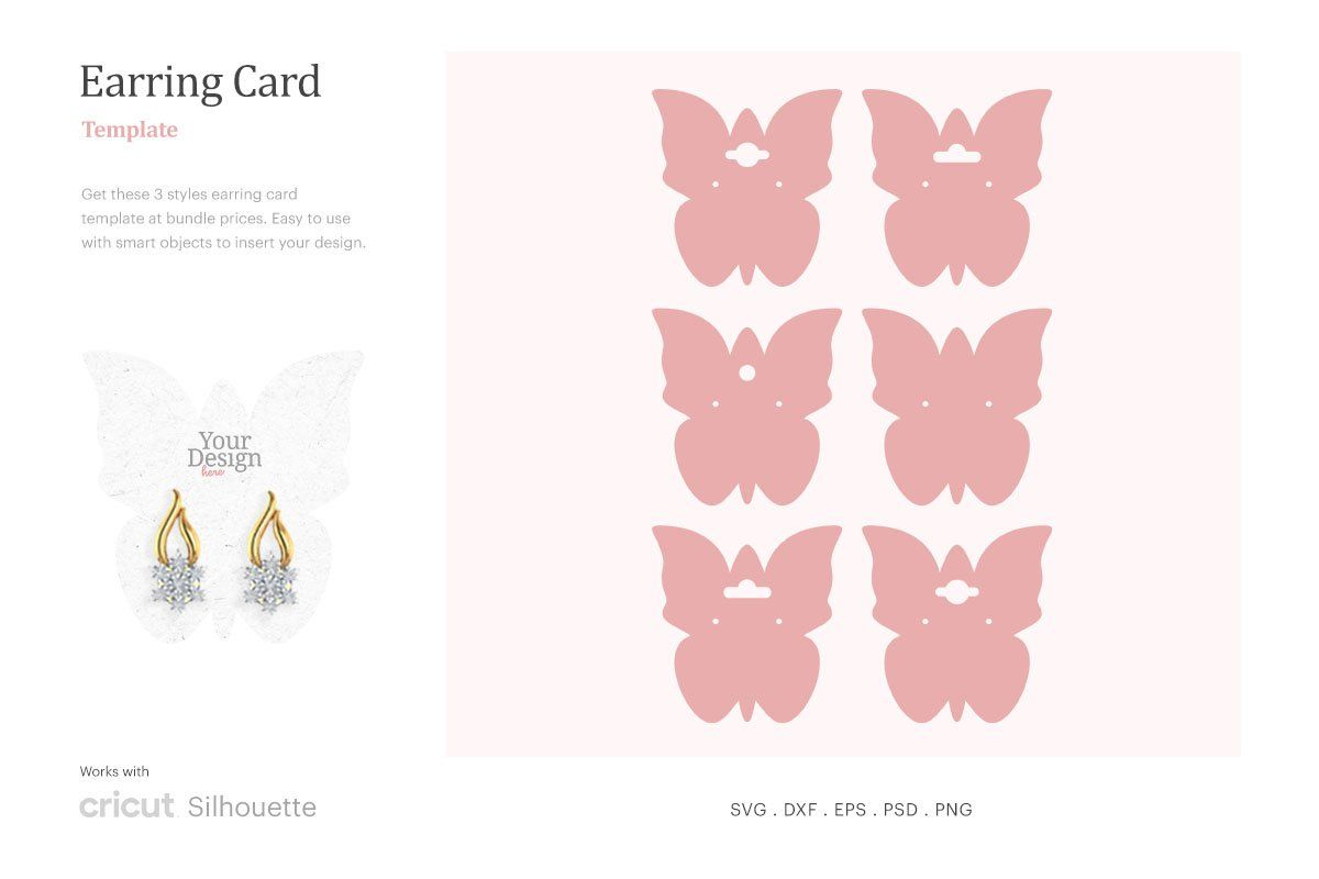 Earring Card Template Butterfly Shape Earring Card Svg Dangle Earring Card Holder Earring Display Svg Cricut Silhoutte Silhouette Studio Svg Png Psd Earring Cards Template Earring Display Earring Cards