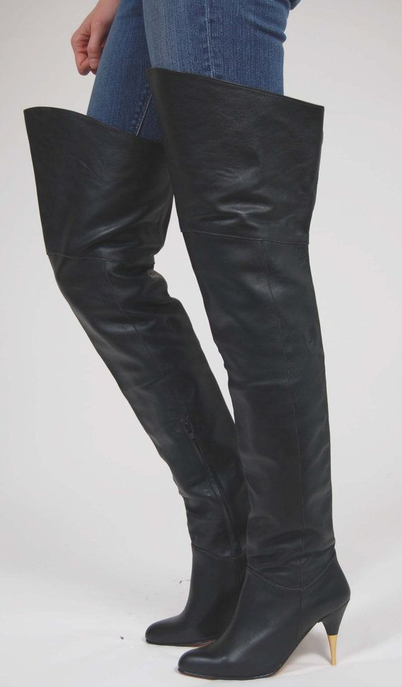 01239556c2a Vintage 80s OTK Leather Boots IBINKA Designs Black Rocker Thigh High Size  36 Never Worn--WOW!!