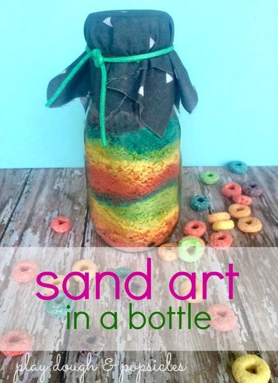 How to make edible sand art in a bottle sand art and edible sand creating sand art in a bottle with crushed rainbow cereal easy project for preschool great handmade by kids gift idea recycled craft ccuart Images