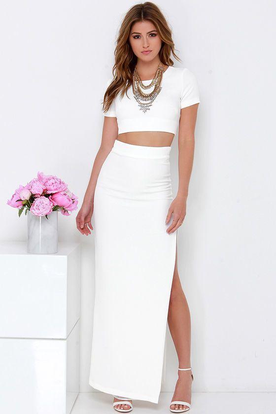 4c4a750209 Fool Me Twice Ivory Two-Piece Maxi Dress