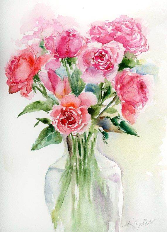 Original Watercolor Pink Roses In Vase Watercolor Watercolor